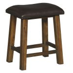 Rustic Brown Stool with Padded Seat – New Castle