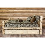 Rustic Clear Lacquered Log Twin Storage Bed – Montana