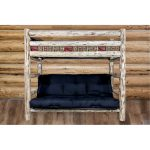 Rustic Clear Lacquered Log Twin-over-Full Futon Bunk Bed – Montana