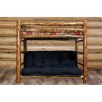 Rustic Country Brown Twin Bunk over Full Futon Bed – Glacier