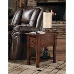 Rustic Dark Brown Oak Side Table
