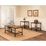 Rustic Elm and Black 3 Piece Coffee Table Set – Craft