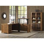 Rustic Hickory Brown L Shaped Standing Desk – Heritage