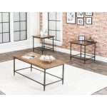 Rustic Oak 3 Piece Coffee Table Set – Pisa