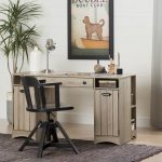 Rustic Oak Craft Table with Storage – Artwork