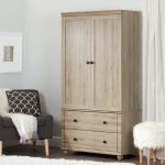 Rustic Oak Storage Armoire with Two Drawers – Hopedale
