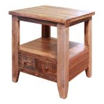 Rustic Pine End Table – Antique