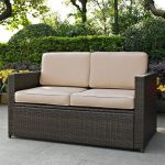 Sand and Brown Wicker Patio Furniture Loveseat – Palm Harbor