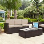 Sand and Brown Wicker Patio Furniture Sofa – Palm Harbor