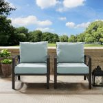 Set of 2 Oiled Bronze Outdoor Patio Arm Chairs – Kaplan