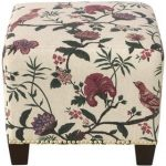 Shaana Holiday Red Square Nail Button Ottoman