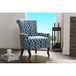 Shabby Chic Navy Blue Fabric Arm Chair