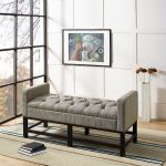 Shadow Gray Upholstered Bench – Claremont