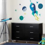 Six-Drawer Double Dresser with Cosmic Wall Decals – Cosmos