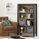 Six-Shelf Weathered Oak and Black Bookcase with Baskets – Munich