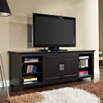 Sliding Door Black 70 Inch TV Stand