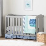 Soft Gray 2-in-1 Crib, Rail and Blue Bedding – Angel