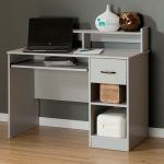 Soft Gray Desk With Keyboard Tray – Axess