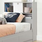 Soft Gray and White Twin Bookcase Headboard (39 Inch) – Cookie