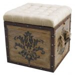 Square Natural Upholstered Ottoman