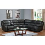 Steamboat Charcoal Gray Leather-Match 6-Piece Reclining Sectional.