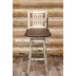 Swivel Barstool w/ Back Upholstered Seat, Saddle Pattern- Montana