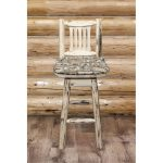 Swivel Barstool w/ Back Upholstered Seat, Wildlife Pattern- Montana