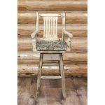 Swivel Captain's Barstool w/Back Upholstered Seat, Wildlife.
