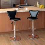 Tall Curved Back Adjustable Bar Stool Set of 2