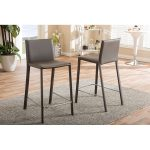 Taupe Leather Upholstered Counter Height Stools