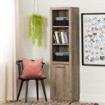 Three-Shelf Weathered Oak Bookcase with Baskets – Kanji