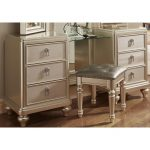 Traditional Champagne Vanity Dresser with Stool – Diva