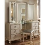 Traditional Champagne Vanity, Mirror & Stool – Diva