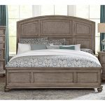 Traditional Gray Oak King Size Bed – Lavonia
