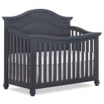 Traditional Weathered Gray 5-in-1 Curved Top Convertible Crib.