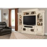 Transitional Burnished White Entertainment Center – Fremont