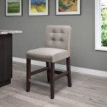Transitional Gray Tweed Counter Stool
