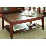 Transitional Slate Top Brown Coffee Table – Davenport