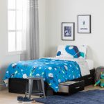 Twin Mates Bed with Cosmic Comforter and Pillowcase – Cosmos