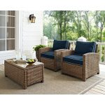 Two Navy and Brown Wicker Patio Arm Chairs – Bradenton
