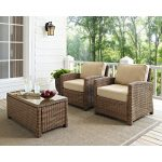 Two Sand and Brown Wicker Patio Arm Chairs – Bradenton