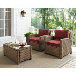 Two Sangria and Brown Wicker Patio Arm Chairs – Bradenton