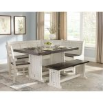 Two-Tone French Country 5-Piece Corner Dining Nook – Bourbon.