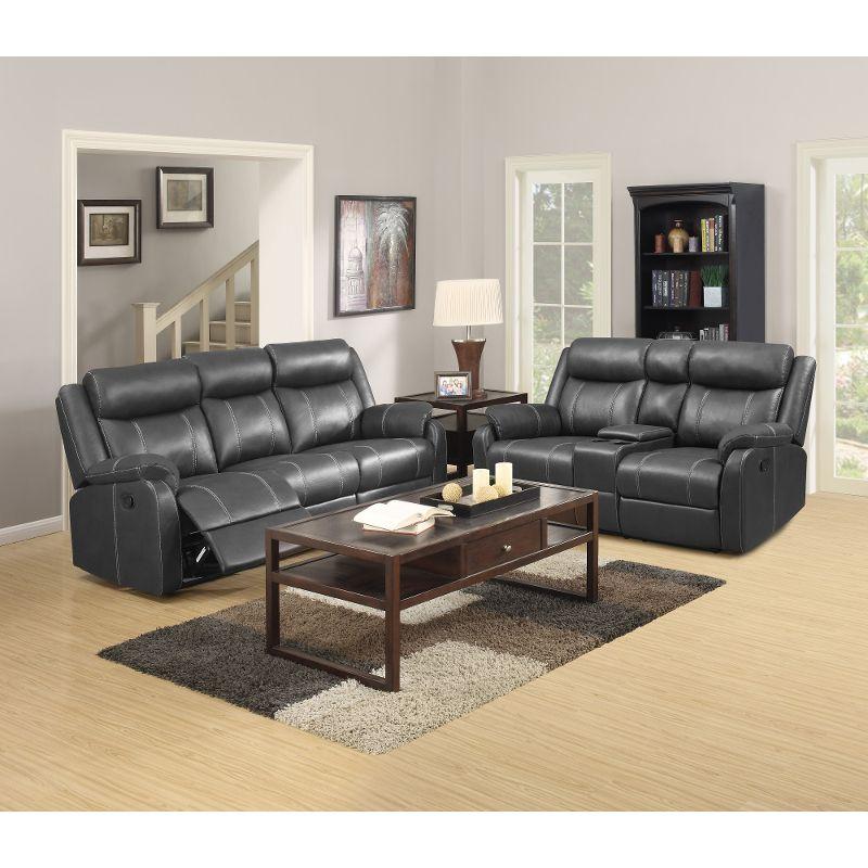 Valor Carbon Black Reclining Sofa Reclining Loveseat Domino