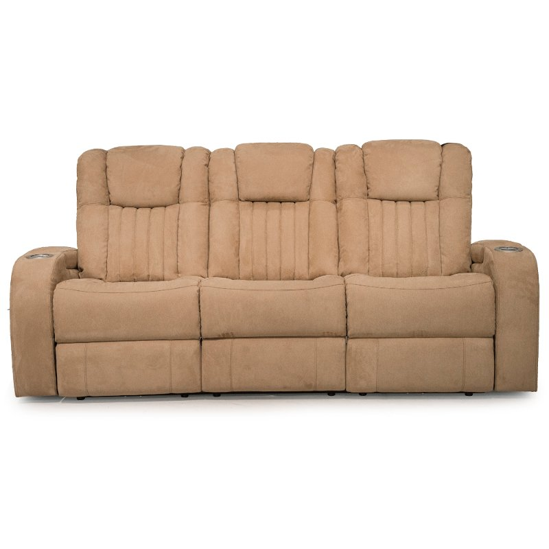 Veritas Saddle Tan Power Reclining Sofa & Loveseat – Transformer ...