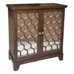 Walnut Honeycomb 2-Door Mirrored Cabinet