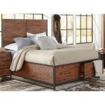 Warm Brown & Metal Modern Rustic Queen Storage Bed – Studio 16