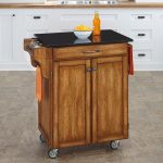 Warm Oak/Black Granite Kitchen Cart