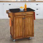 Warm Oak/Black Granite Kitchen Cart