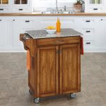 Warm Oak/Gray Granite Kitchen Cart